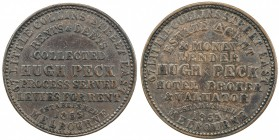 AUSTRALIA: AE penny token, [1862], KM-Tn189, legend on both sides, 67 LITTLE COLLINS STREET EAST / ESTATE AGENT / & MONEY / LENDER / HUGH PECK / HOTEL...
