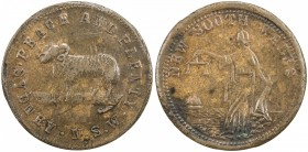 AUSTRALIA: AE penny token, ND [1859], KM-Tn286.4, Renniks-422A/A631, Andrews-630, Whitty & Brown, Sydney, New South Wales, ram, crudely struck piece (...
