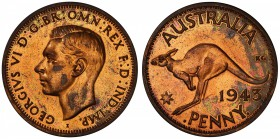 "AUSTRALIA: George VI, 1936-1952, AE penny, 1943-I, KM-36, Bombay Mint proof restrike, PCGS graded PF61 RB. Pridmore states that ""The earliest of this ..."