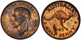 "AUSTRALIA: George VI, 1936-1952, AE halfpenny, 1943-I, KM-41, Bombay Mint proof restrike, PCGS graded PF60 RB. Pridmore states that ""The earliest of t..."