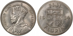 FIJI: George V, 1910-1936, AR florin, 1934, KM-5, brilliant lustrous surfaces, superb for type! PCGS graded MS63.