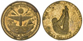 MARSHALL ISLANDS: 5 dollars (11.37g), 1988, Schön-6, gilt brass, part of Greg Louganis - World's Greatest Diver Series, arms of Marshall Islands with ...