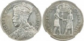 NEW ZEALAND: George V, 1910-1936, AR crown, 1935, KM-6, Treaty of Waitangi 1840 commemorative; only 468 struck in proof, 364 for sets, 104 sold indivi...