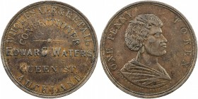 "NEW ZEALAND: AE penny token, ND [1873], KM-Tn70.2, Andrews-610, Renniks-582, Edward Waters, Auckland, variety with ""QUEEN ST."" 19mm long, many small c..."