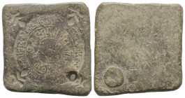 Islamic, Fatimid. Lead Uniface Weight, c. 11th century (45x47mm, 94.93). Double margin religious legend around central pellet. Pierced