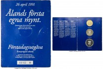 Aland Islands. Autonomous 3-Piece Mint Set 1991 Prooflike UNC, 1) 10 Daler, KM-X1.2 2) 50 Daler, KM-X2.2 3) 100 Daler, KM-X3.2 KM-XMS1. Each piece wit...