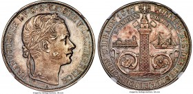"Franz Joseph I 2 Taler 1857-A MS62 NGC, Vienna mint, KM2246.2, Wreath points between ""AI"" of Kaiser in legend. A captivating example of this popular t..."