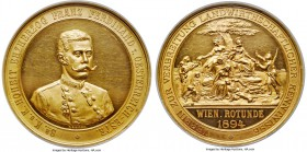 "Franz I gold Proof ""Agricultural"" Medal 1894 PR62 Ultra Cameo NGC, Wurzbach-2436, Unger-1264, Horsky-4121. 180.7gm. By N. Bachrach, for the Associatio..."