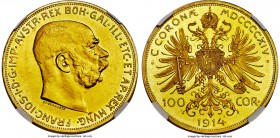 Franz Joseph I gold Proof 100 Corona 1914 PR61 NGC, KM2819. Typical bagmarks for the technical grade yet with a quite pleasing obverse and a pronounce...