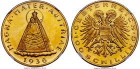 Republic gold Prooflike 100 Schilling 1936 PL64 NGC, Vienna mint, KM2857, Fr-522. Deeply reflective surfaces embrace a unique design whose imagery is ...