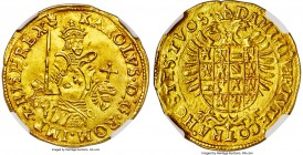 Brabant. Charles V (1506-1555) gold Real d'or ND (1546-1556) MS63 NGC, Antwerp mint, Hand mm, Fr-56, Delm-97. 5.32gm. KAROLVS • D : G • ROM • IMP • z ...