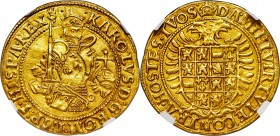 Brabant. Charles V gold Real d'or ND (1506-1555) AU58 NGC, Antwerp mint, Fr-56, Delm-97. A timeless and popular design and undeniably alluring in this...