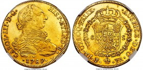 Charles III gold 8 Escudos 1787/6 PTS-PR MS61 NGC, Potosi mint, KM59. Sharply struck, with partial underlying luster and a noticeably bold overdate. A...