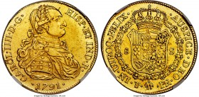 Charles IV gold 8 Escudos 1791 PTS-PR AU50 NGC, Potosi mint, KM77, Onza-1084. A rare one-year type with lemon-hued fields, quite clean for the grade, ...