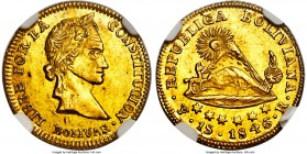 Republic gold Scudo 1846 PTS-R MS65 NGC, Potosi mint, KM105, Fr-29. Of the two examples which have been graded by NGC and PCGS combined, the present e...