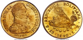 Republic gold 8 Scudos 1840 PTS-LR MS63 PCGS, Potosi mint, KM99, Onza-1586. Sharply detailed throughout, with impressive luster that sheaths the surfa...