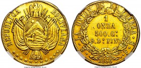 "Republic gold Onza 1868 PTS-FP XF Details (Plugged, Repaired, Cleaned) NGC, Potosi mint, KM142, Fr-37. The edge defect between ""LA"" and ""FUERZA"" is mi..."