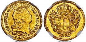 João V gold 800 Reis 1732-M MS63 NGC, Minas Gerais mint, KM120, Russo-261. It can safely be said that there are few survivors of this issue, as the la...