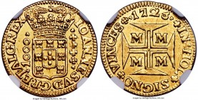João V gold 1000 Reis 1725-M AU58 NGC, Minas Gerais mint, KM113, Russo-233. A denomination that does not appear very often, particularly so fine, this...