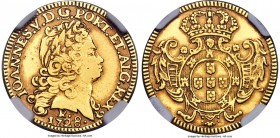 "João V gold 1600 Reis 1728-R XF Details (Cleaned) NGC, Rio de Janeiro mint, KM126, Russo-183. A well-detailed example of this rare ""oval shield"" type,..."