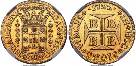João V gold 4000 Reis 1722-B AU58 NGC, Bahia mint, KM106, Russo-68. A lovely coin with lustrous glistening fields that exhibit a pleasing honey tone m...