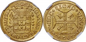 João V gold 4000 Reis 1724-R MS65 NGC, Rio de Janeiro mint, KM102, LMB-O176. A superb gem with ultra-satiny luster and excellent eye appeal. Tied for ...