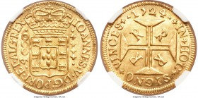 João V gold 4000 Reis 1724-R MS62 NGC, Rio de Janeiro mint, KM102, LMB-O176. Well-struck and attractive with lustrous surfaces. Very scarce in Mint St...