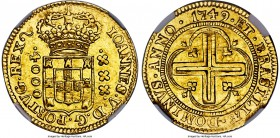 João V gold 4000 Reis 1749-(L) MS62 NGC, Lisbon mint, KM164, LMB-0292. A very scarce type struck at the Lisbon mint for the Maranhao State. The exampl...