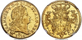 João V gold 6400 Reis 1736-B AU55 NGC, Bahia mint, KM151. An elusive issue, significantly more difficult than Rio-minted issues and with a correspondi...