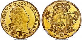João V gold 6400 Reis 1738-R AU55 NGC, Rio de Janeiro mint, KM149, Gomez-56.18. Somewhat weakly struck at the centers, though with problem-free surfac...