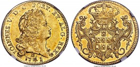 João V gold 6400 Reis 1741/31-B MS61 NGC, Bahia mint, KM151, Fr-51. A dazzling example with shimmering luster and a strong strike. Lightly toned throu...