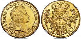 João V gold 6400 Reis 1742-B UNC Details (Cleaned) NGC, Bahia mint, KM151. Soundly struck, with bright sun-gold surfaces and a satisfying eye appeal d...