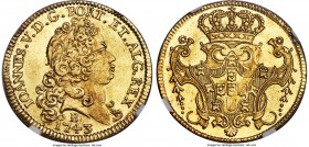 João V gold 6400 Reis 1743-B MS64 NGC, Bahia mint, KM151, Russo-143. A phenomenal sun-gold offering which is leaps and bounds above any other examples...