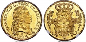 João V gold 6400 Reis 1744-B MS65+ NGC, Bahia mint, KM151, Fr-51. Simply superb, as the designation suggests, with as-struck qualities throughout the ...