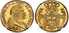 João V gold 6400 Reis 1745-B AU55 NGC, Bahia mint, KM151, Russo-145. An enticing example of the type, which exhibits unusually satiny surfaces, toned ...