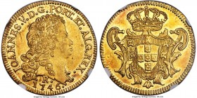 João V gold 6400 Reis 1746-R MS63 NGC, Rio de Janeiro mint, KM149, LMB-O221. Fully choice and well-centered with strong luster and areas of honeyed to...