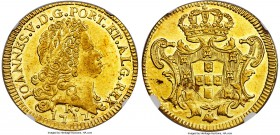 João V gold 6400 Reis 1747-R AU58 NGC, Rio de Janeiro mint, KM149, Russo-222. A brilliant coin, which truly feels as close to Mint State as the numeri...