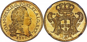 João V gold 6400 Reis 1749-R MS62 NGC, Rio de Janeiro mint, KM149, Fr-46, LMB-O224. Very well preserved, with a nice reflectivity in the fields, and a...