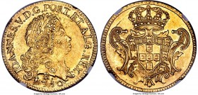João V gold 6400 Reis 1750-R MS62+ NGC, Rio de Janeiro mint, KM149, Russo-225. Ultra-satiny fields and near-choice preservation make this coin an envi...