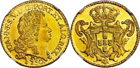 João V gold 6400 Reis 1750-R AU55 NGC, Rio de Janeiro mint, KM149, Russo-225. The final year for this issue, and quite enticing as a piece on the verg...