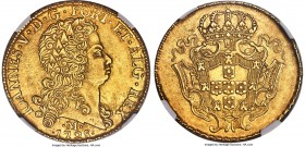 João V gold 12800 Reis 1728-M AU55 NGC, Minas Gerais mint, KM139, Russo-284. Truly spectacular, with a visual depth and bronzed tone which lends an al...