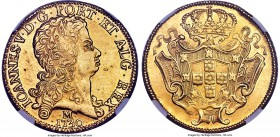 João V gold 12800 Reis 1730-M AU Details (Surface Hairlines) NGC, Minas Gerais mint, KM139, LMB-0286. A tantalizing large gold issue which retains mos...