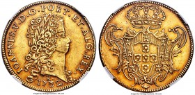 João V gold 12800 Reis (Dobra) 1732/1 AU55 NGC,  Rio de Janerio mint, KM148, LMB-O227A, Gomes-138.12. A prominent example that features the thin bust ...
