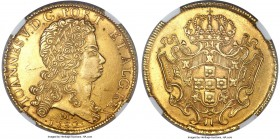 João V gold 12800 Reis 1732-M AU58 NGC, Minas Gerais mint, KM139, Russo-288. Borderline Mint State and attractive for the assigned grade with scant hi...