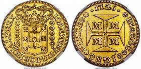 João V gold 20000 Reis 1726-M AU53 NGC, Minas Gerais mint, KM117, Fr-33, LMB-O250. A superb, problem-free representative of this large, popular gold t...