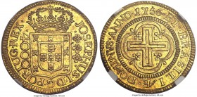Jose I gold 4000 Reis 1756-(L) MS65 NGC, Lisbon mint, KM171.2, Russo-311. A choice and fully original coin with light toning and full underlying mint ...