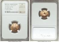 BRITAIN. Trinovantes and Catuvellauni. Cunobelin (ca. AD 10-43). AV stater (18mm, 5.37 gm, 8h). NGC XF 4/5 - 3/5. Wild Series A'. CA - MV, grain ear /...