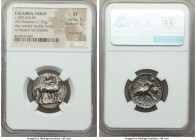 CALABRIA. Tarentum. Ca. 380-334 BC. AR stater or didrachm (21mm, 7.79 gm, 1h). NGC XF 5/5 - 2/5, smoothing. Ephebos, naked but for helmet, carrying lo...