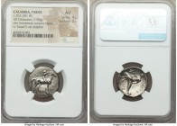 CALABRIA. Tarentum. Ca. 302-280 BC. AR stater or didrachm (21mm, 7.90 gm, 3h). NGC AU 4/5 - 3/5. Crowning youth on horseback right; ΣA behind, ΦIΛI/AP...