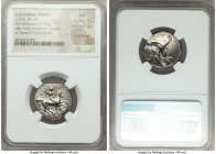 CALABRIA. Tarentum. Ca. 302-281 BC. AR stater or didrachm (22mm, 7.87 gm, 9h). NGC AU 5/5 - 2/5, smoothing. Deinokrates, magistrate. Warrior on horseb...